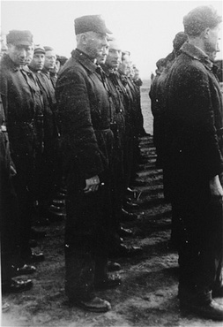Файл:Roll call of the camp Jewish police. Westerbork transit camp, the Netherlands, 1943.jpg