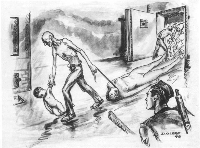 Файл:Sketch by David Olère, dating from 1946, showing bodies being removed from the Kematorum III gas chamber.jpg