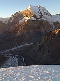 Peak Korzhenevskoi Pamir from Borodkina ridge at sunset.jpg