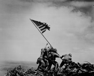 U.S. troops raising the flag on Iwo Jima