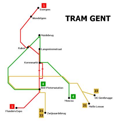 Схема маршрутов гентского